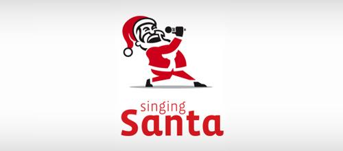 christmas-logo-design-singing-santa