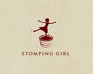 silhouette-logo-design-stomping-girl