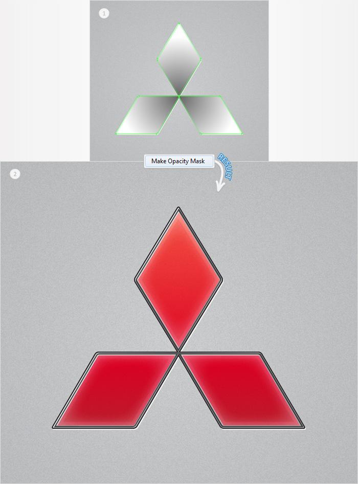 Come creare il logo Mitsubishi con Adobe Illustrator