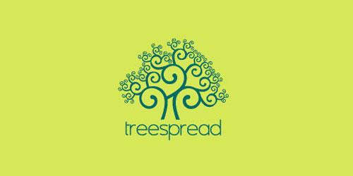 logo design green tree spred